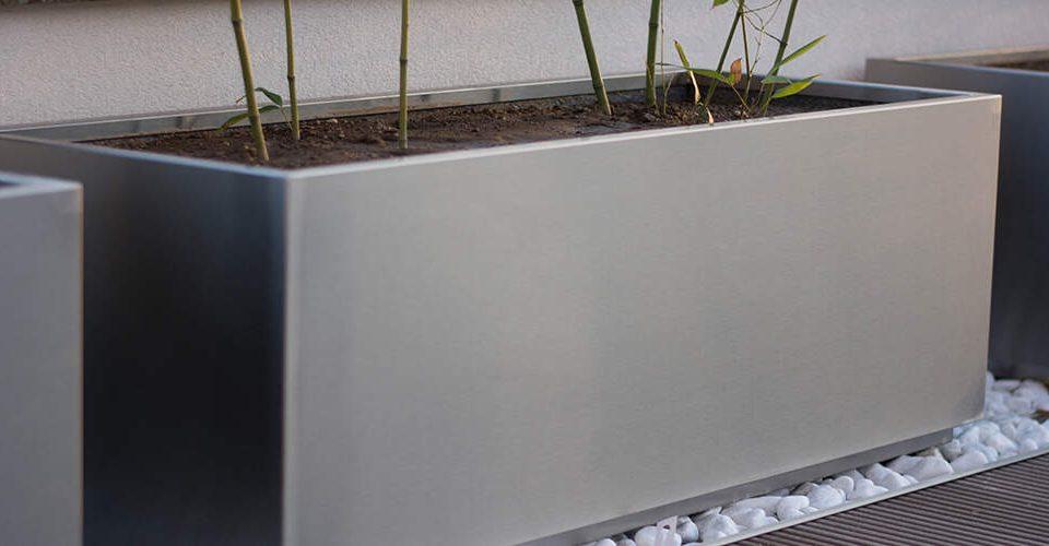 Cvetlično korito rectangular inox za zunanjo uporabo